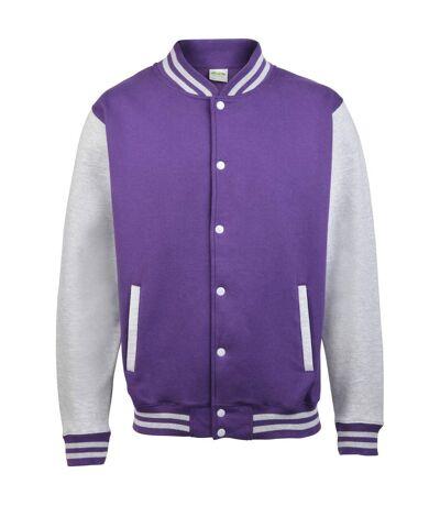 Awdis Unisex Varsity Jacket (Purple/ Heather Grey) - UTRW175
