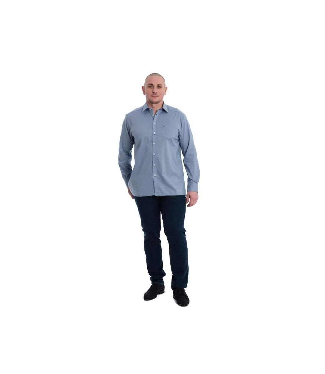 Chemise manches longues bleu à petits carreaux et motifs