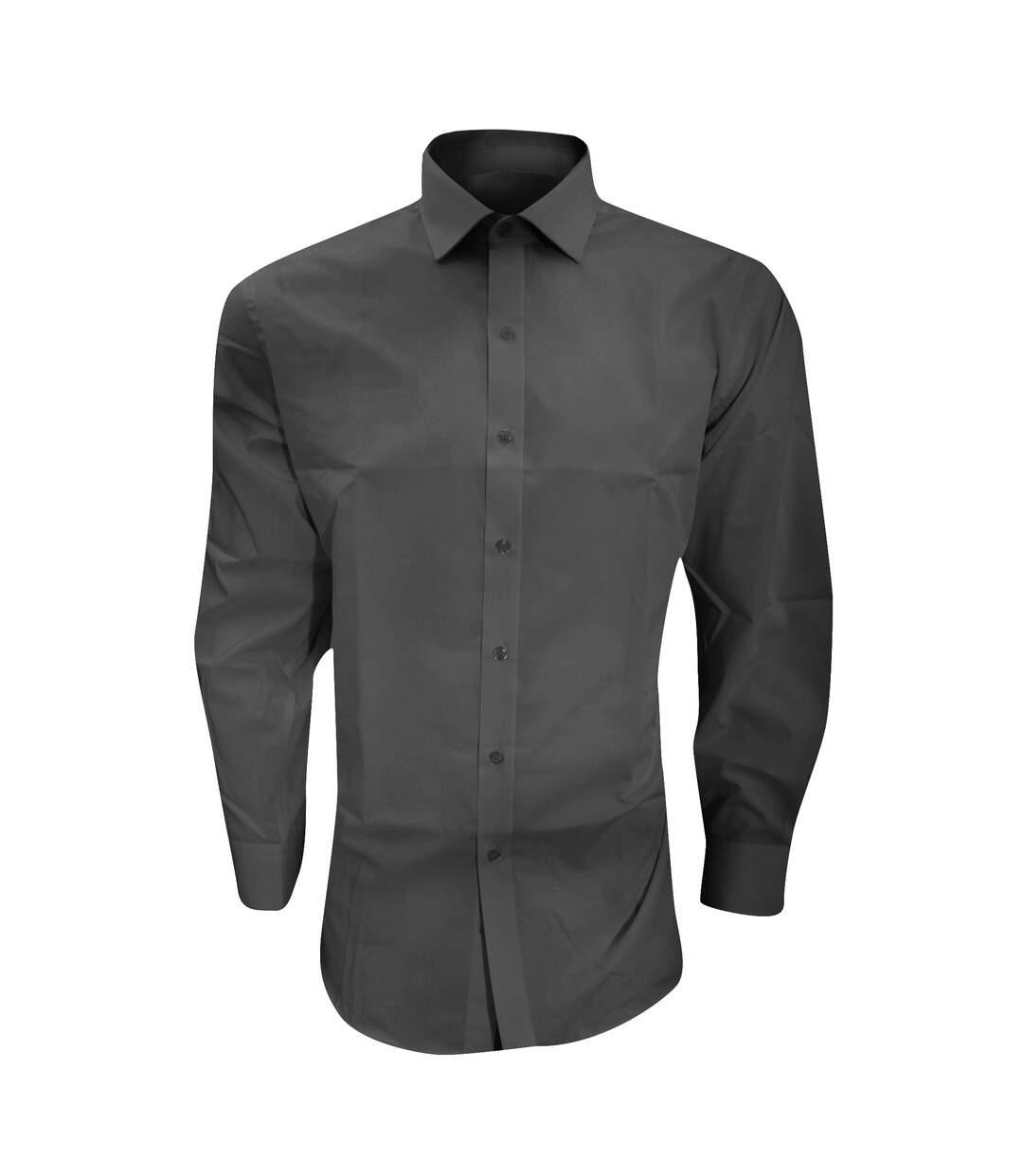 Brook Taverner Mens Alba Slim Fit Long Sleeve Easy Iron Work Shirt (Black) - UTRW2623