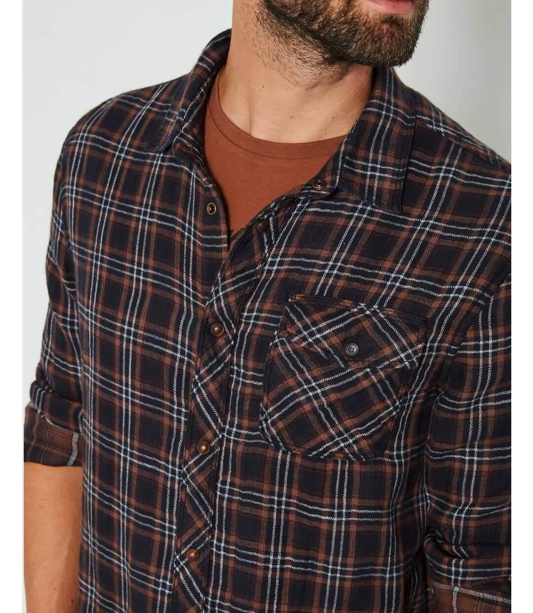 Chemise marron SIL404 cintrée à carreaux pour homme
