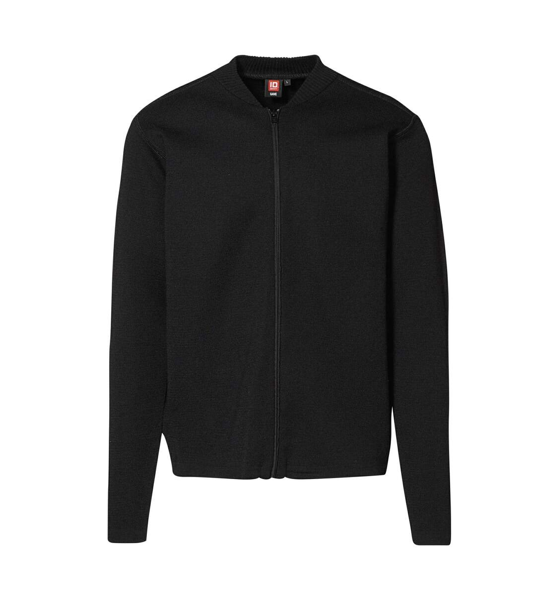 ID Mens Fitted Full Zip Knitted Cardigan (Black) - UTID396