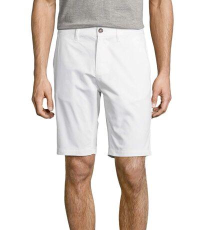 Short chino uni blanc à coupe droite bermuda toile pour homme