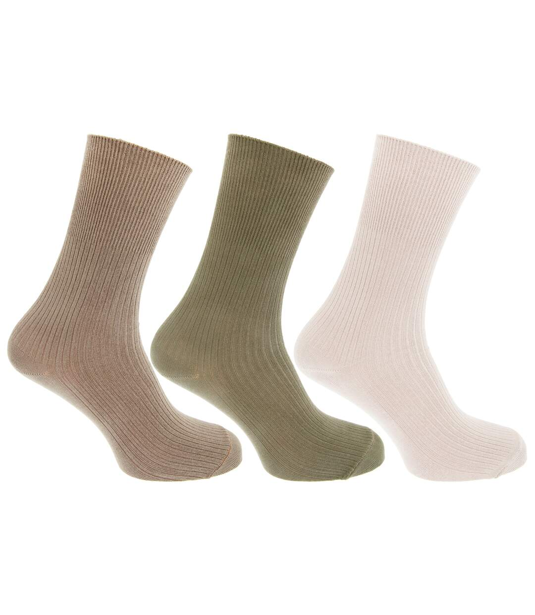 Mens Casual Non Elastic Bamboo Viscose Socks (Pack Of 3) (Green/Beige/Cream) - UTMB376