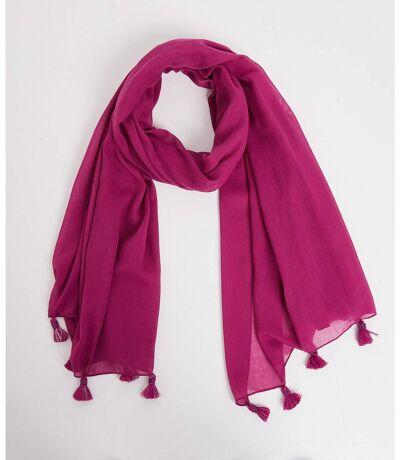 Foulard violet à pompons perlés femme