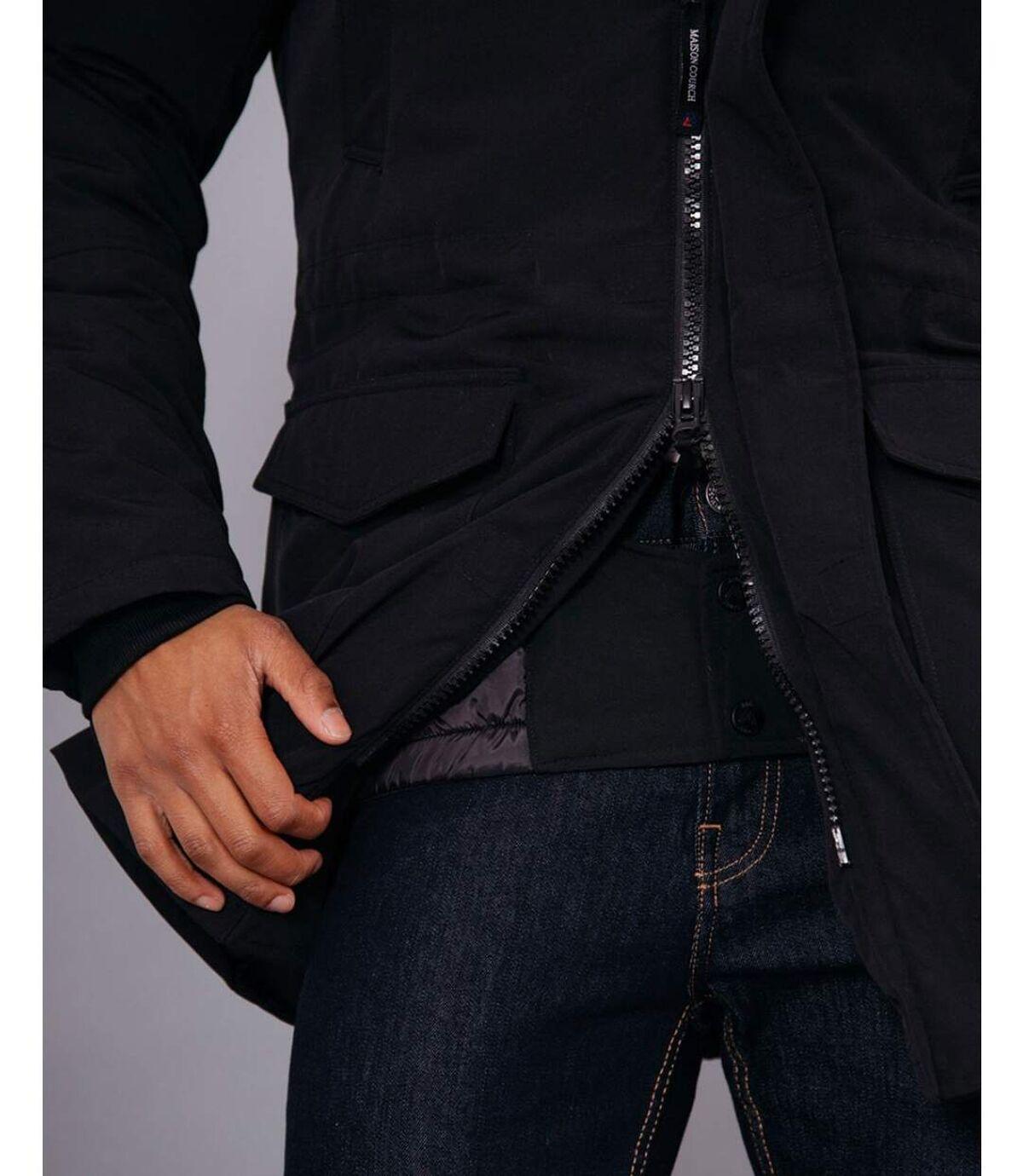 Parka longue noir chauffante avec capuche fourrure noire synthétique