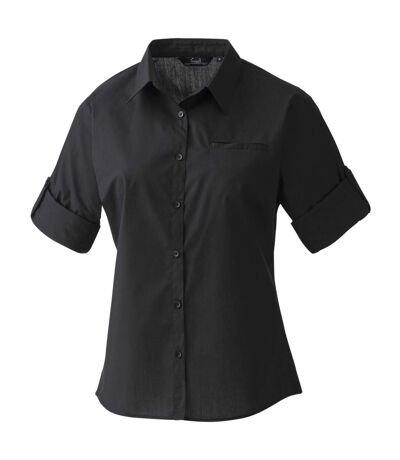 Premier Womens/Ladies Roll Sleeve Poplin Shirt (Black) - UTRW1094