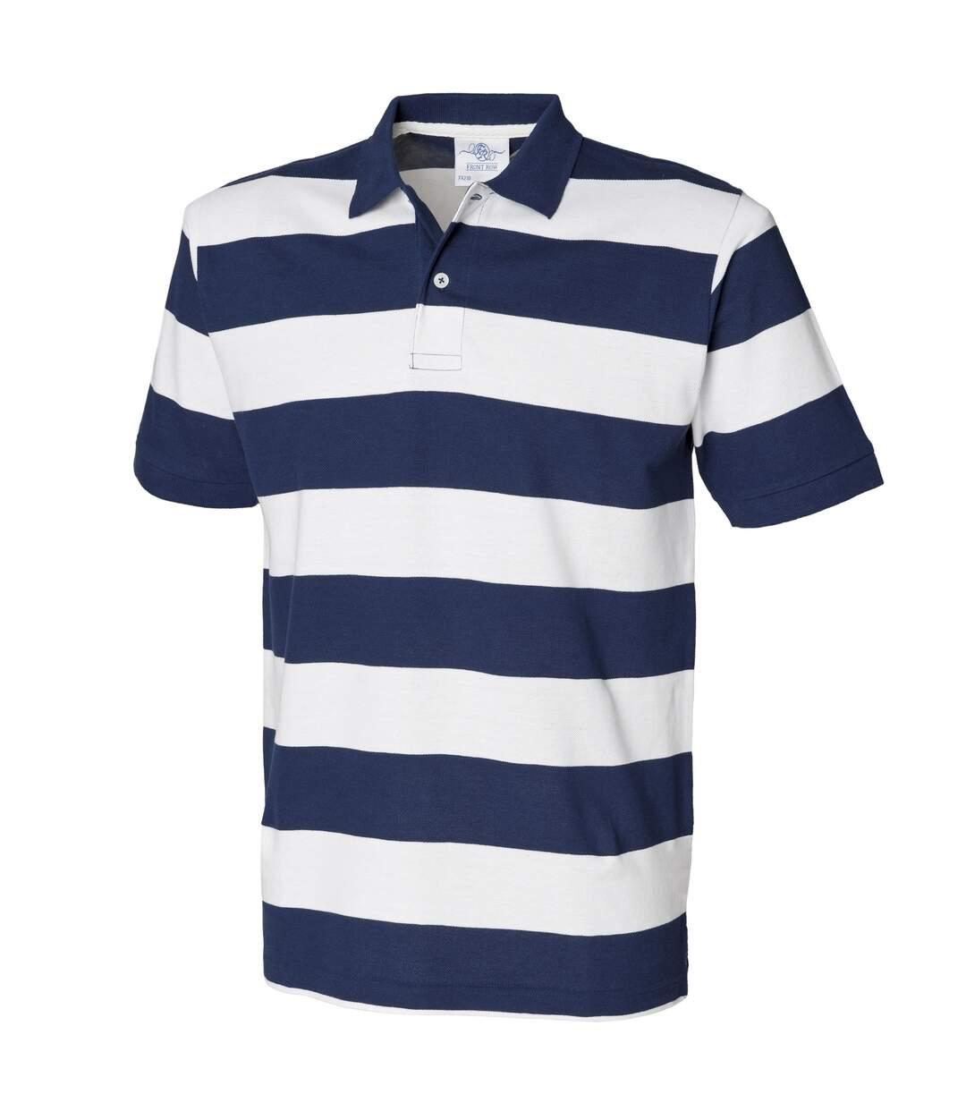 Front Row Mens Striped Pique Polo Shirt (Heather Grey/Navy) - UTRW488