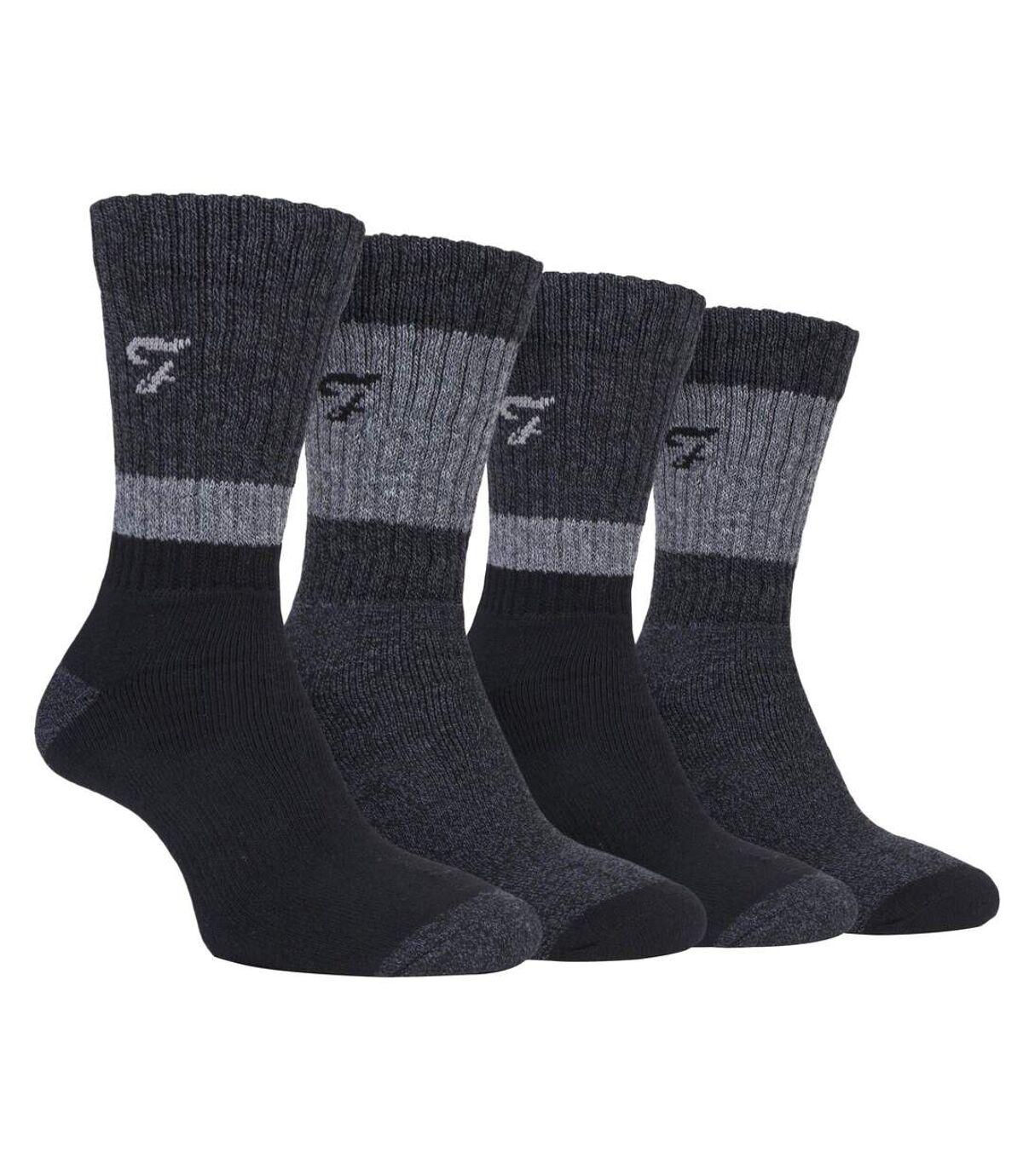 Mens 4 Pk Cotton Cushioned Hiking Boot Socks
