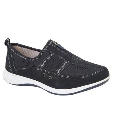 Boulevard Womens/Ladies Suede/Textile Shoes (Navy) - UTDF1582