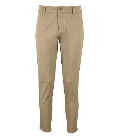 pantalon toile stretch femme - 01425 7-8ème - beige chataigne