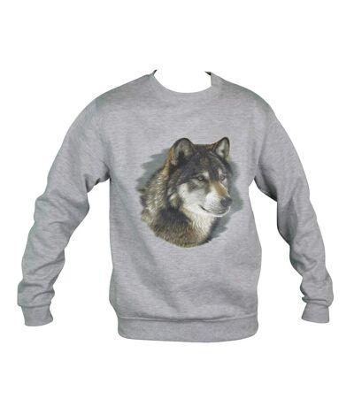 Sweat-shirt motif loup - 11443 - homme - gris chiné