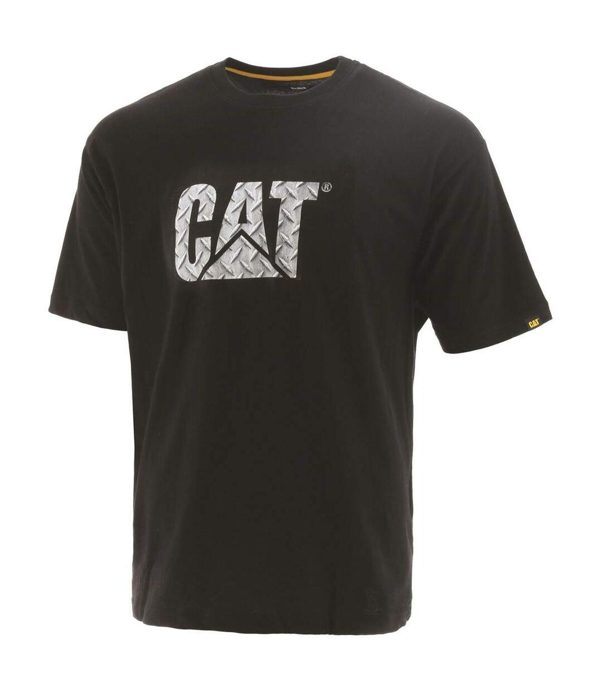 Caterpillar Mens Custom Logo T-Shirt (Black/Metallic Silver) - UTFS7884