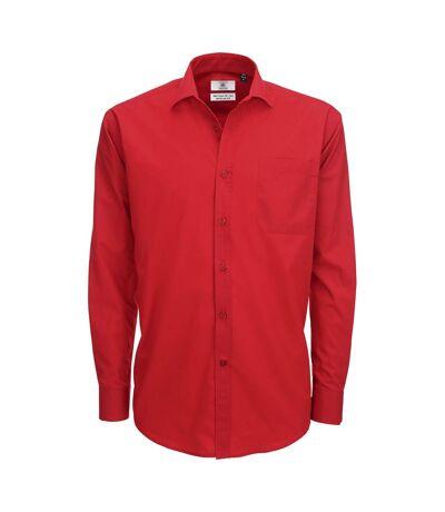 B&C Mens Smart Long Sleeve Poplin Shirt / Mens Shirts (Deep Red) - UTBC111