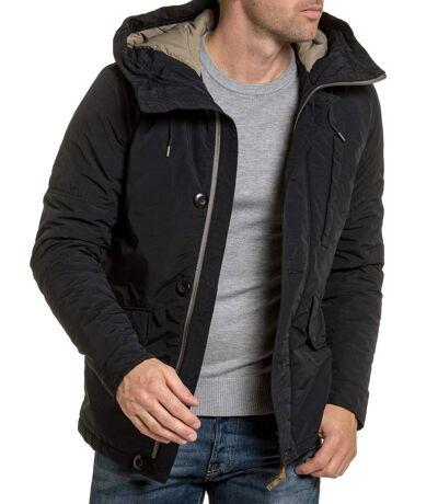 Blouson homme zippé noir capuche vintage