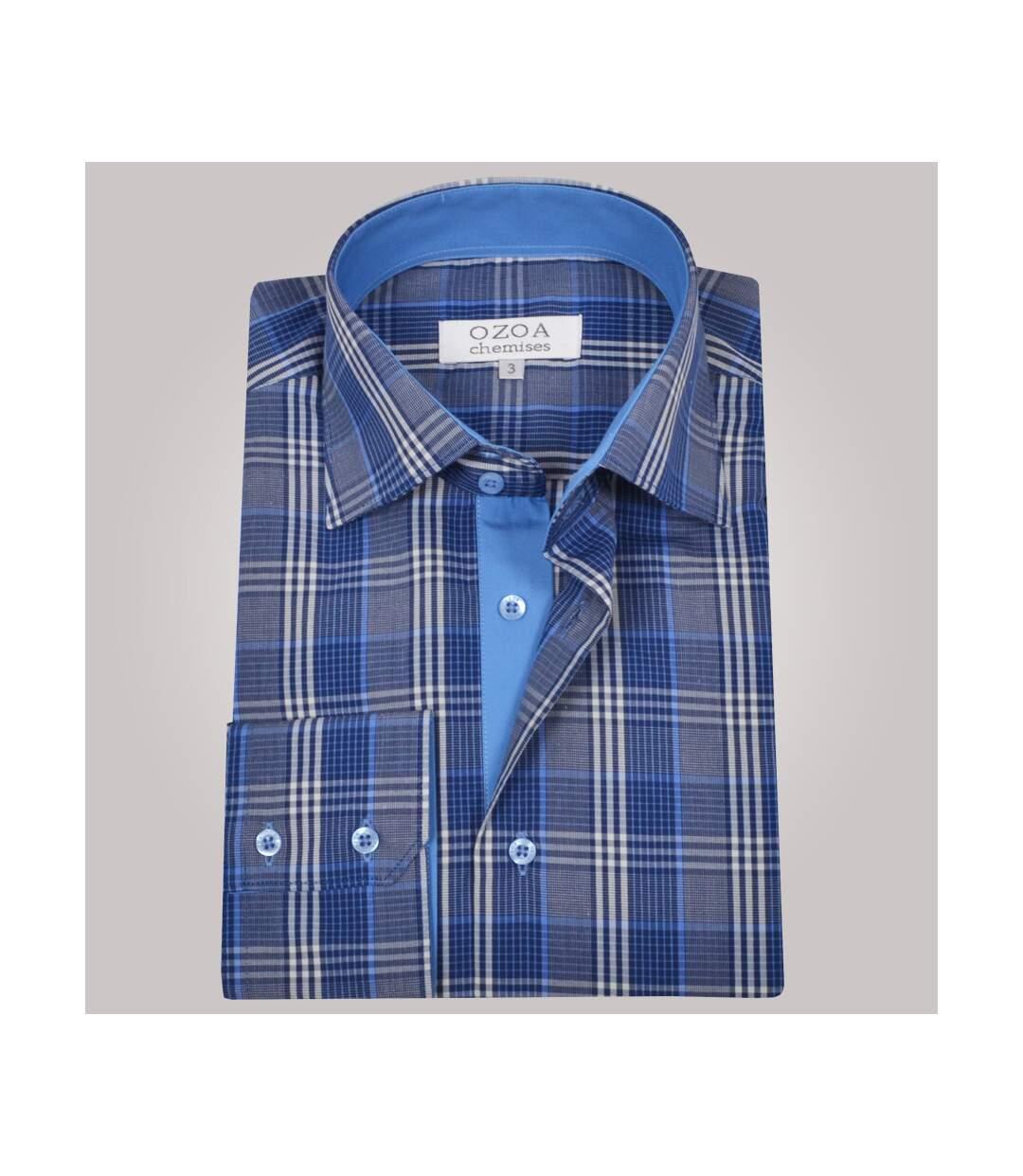 Chemise homme à carreaux bleus et blancs intérieur bleu - Chemise CINTRÉE