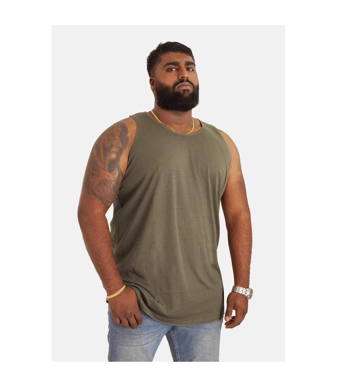 Duke Mens Fabio-2 Kingsize Muscle Vest (Khaki) - UTDC172