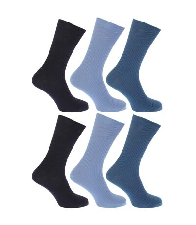 FLOSO - Chaussettes striées non élastiquées 100% coton (lot de 6 paires) - Homme (Nuances de bleu) - UTMB186