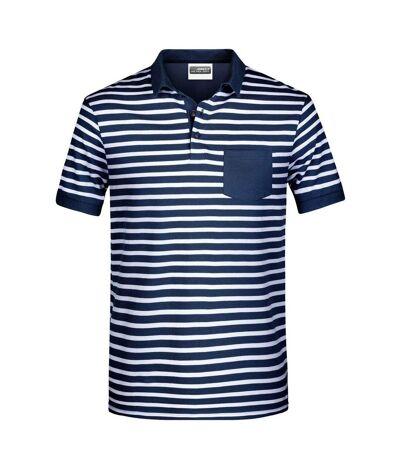 Polo rayé marinière coton bio pour homme - 8030 - bleu marine