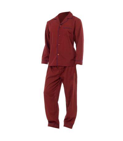 Mens Plain Long Sleeve Shirt & Trouser Bottoms Nightwear Pyjama Set (Red) - UTN510