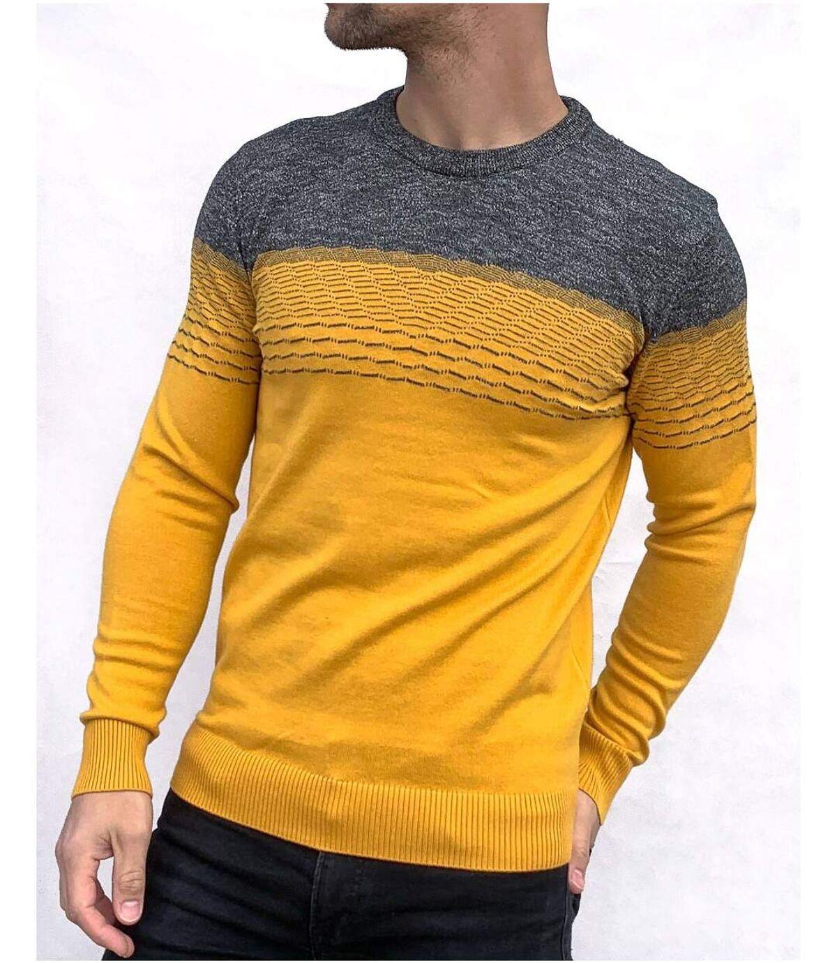 Pull camel moutarde bi color gris anthracite en coton hiver col rond pour homme