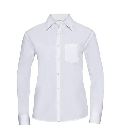Russell Collection Ladies/Womens Long Sleeve Shirt (White) - UTBC1026