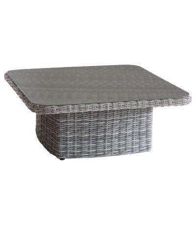 Table basse relevable de jardin en résine tressée Moorea - L. 110 x H. 45 cm - Gris ombre