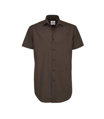 B&C Mens Black Tie Short Sleeve Formal Work Shirt (Coffee Bean) - UTRW3522