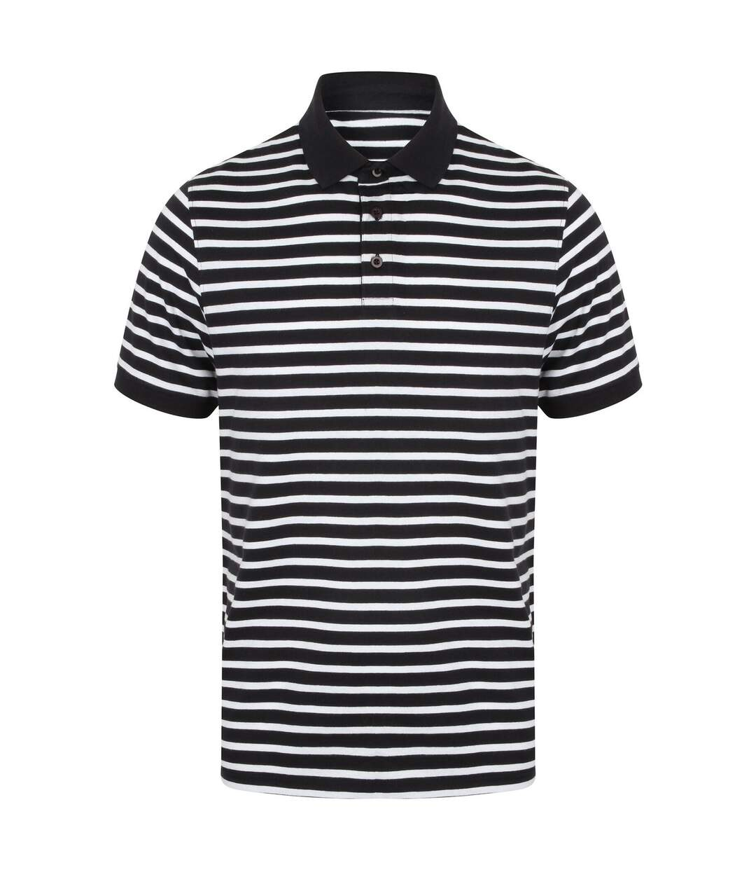 Front Row Mens Striped Jersey Polo Shirt (Navy/White) - UTPC2944