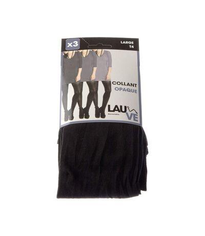Collant chaud - Lot de 3 - Unis simple - Opaque - Mat - Pointe renforcée - Gousset polyamide - Collant repassé - Noir - Maline