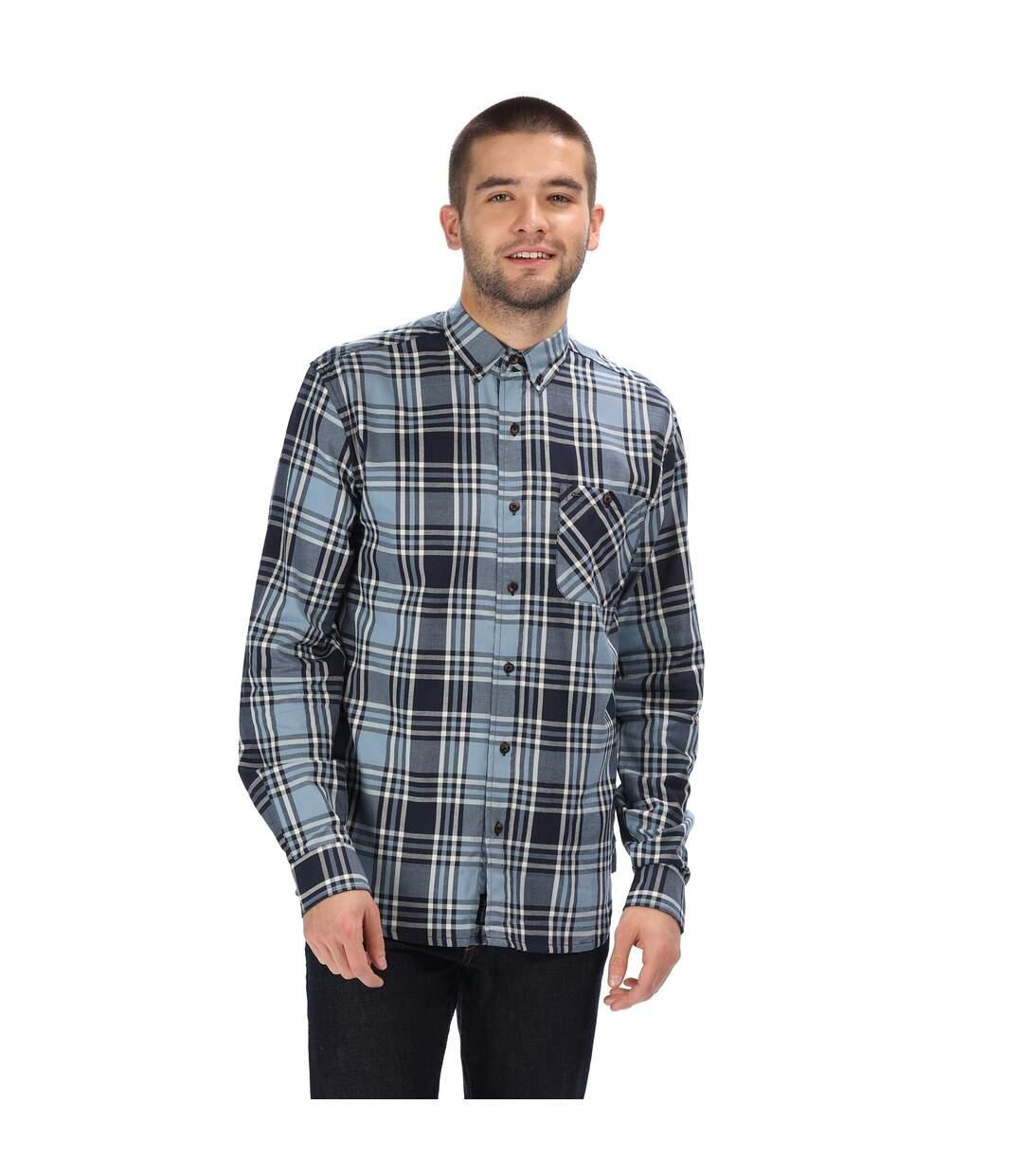 Regatta Great Outdoors Mens Lazare Long Sleeve Checked Shirt (Navy) - UTRG4716