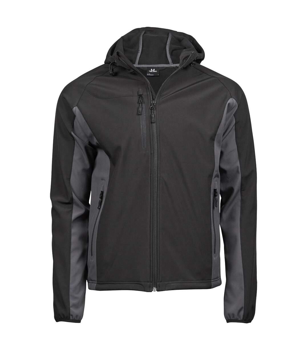 Tee Jays Mens Hooded Fashion Softshell Jacket (Black/Dark Grey) - UTBC3327