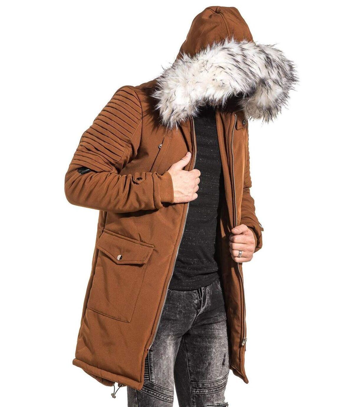 Parka camel capuche fourrure blanche pour homme
