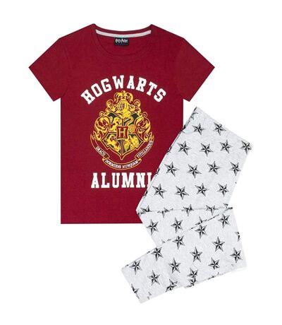 Harry Potter Womens/Ladies Alumni Hogwarts Pyjama Set (Red/Grey) - UTNS5968