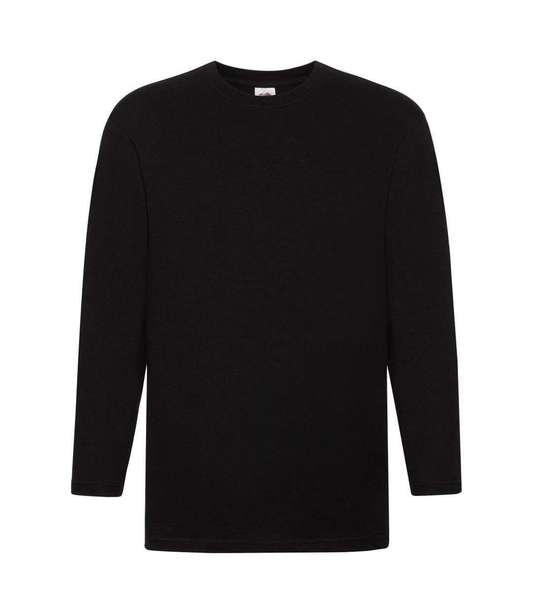 Fruit Of The Loom Mens Super Premium Long Sleeve Crew Neck T-Shirt (Black) - UTBC332