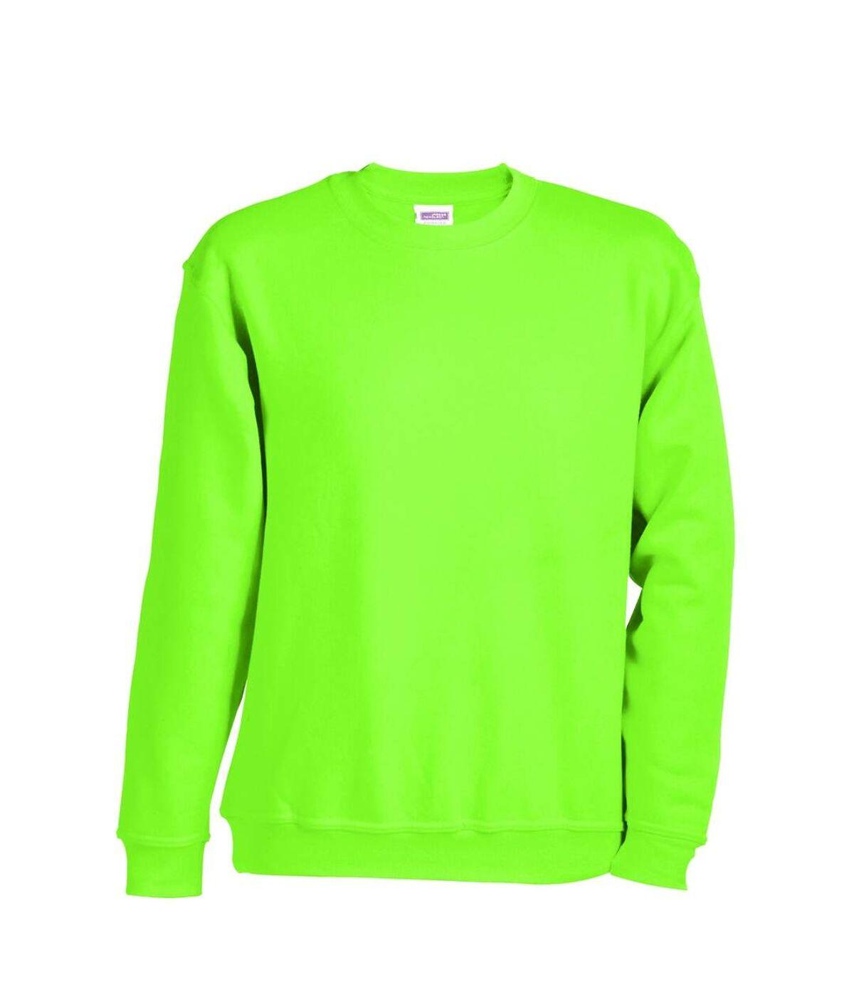 Sweat-shirt col rond - JN040 - vert citron - mixte homme femme