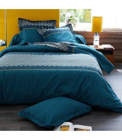 Housse de couette 240x220 cm 100% coton TALISMAN bleu Paon