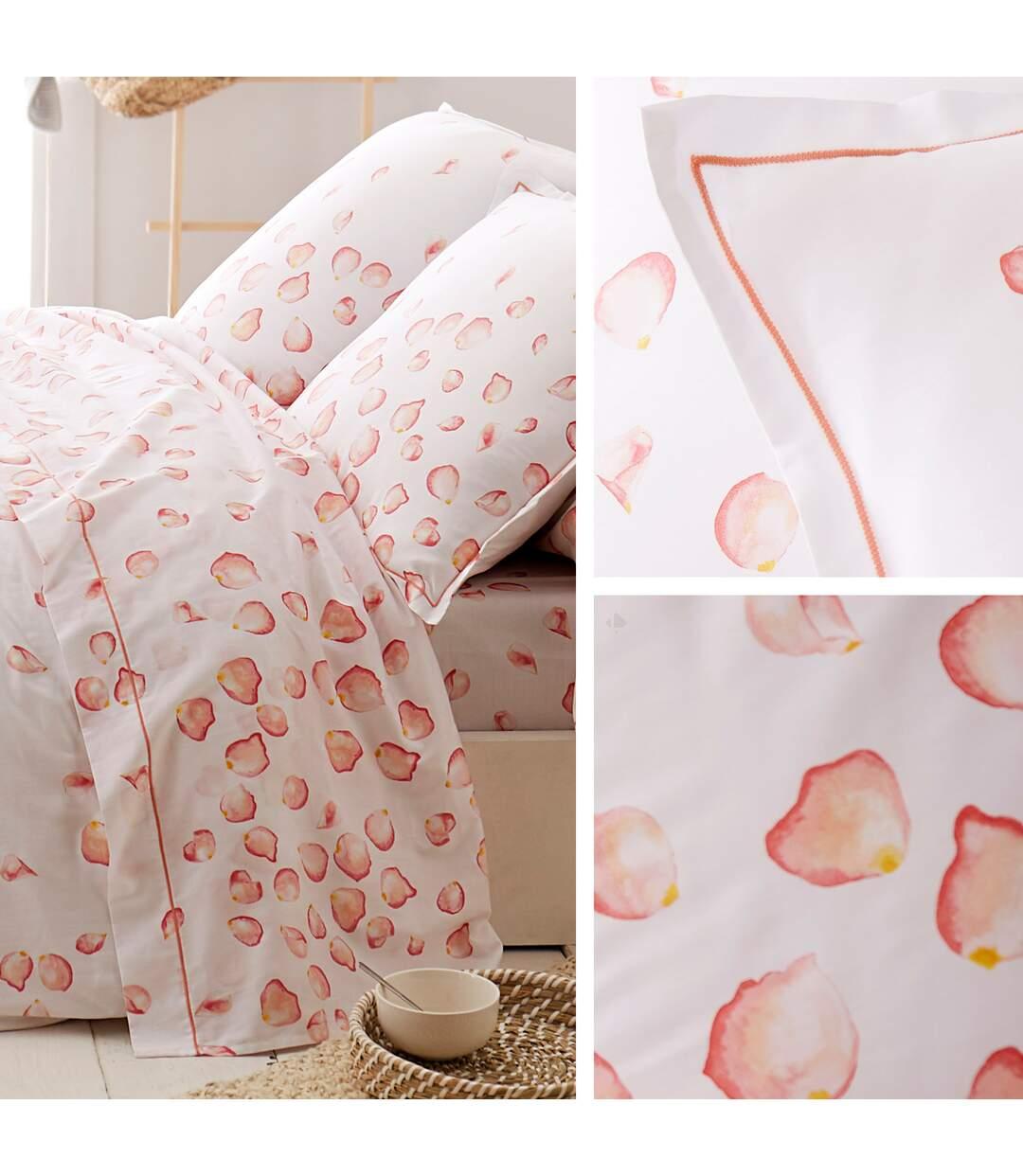 Parure de lit 240x220 cm satin de coton PETALES blanc 3 pièces