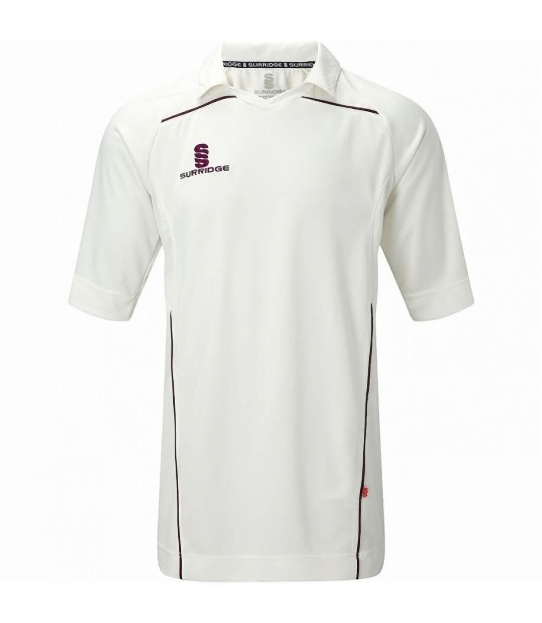 Surridge Mens Century Sports Cricket Shirt (White/ Maroon trim) - UTRW2868