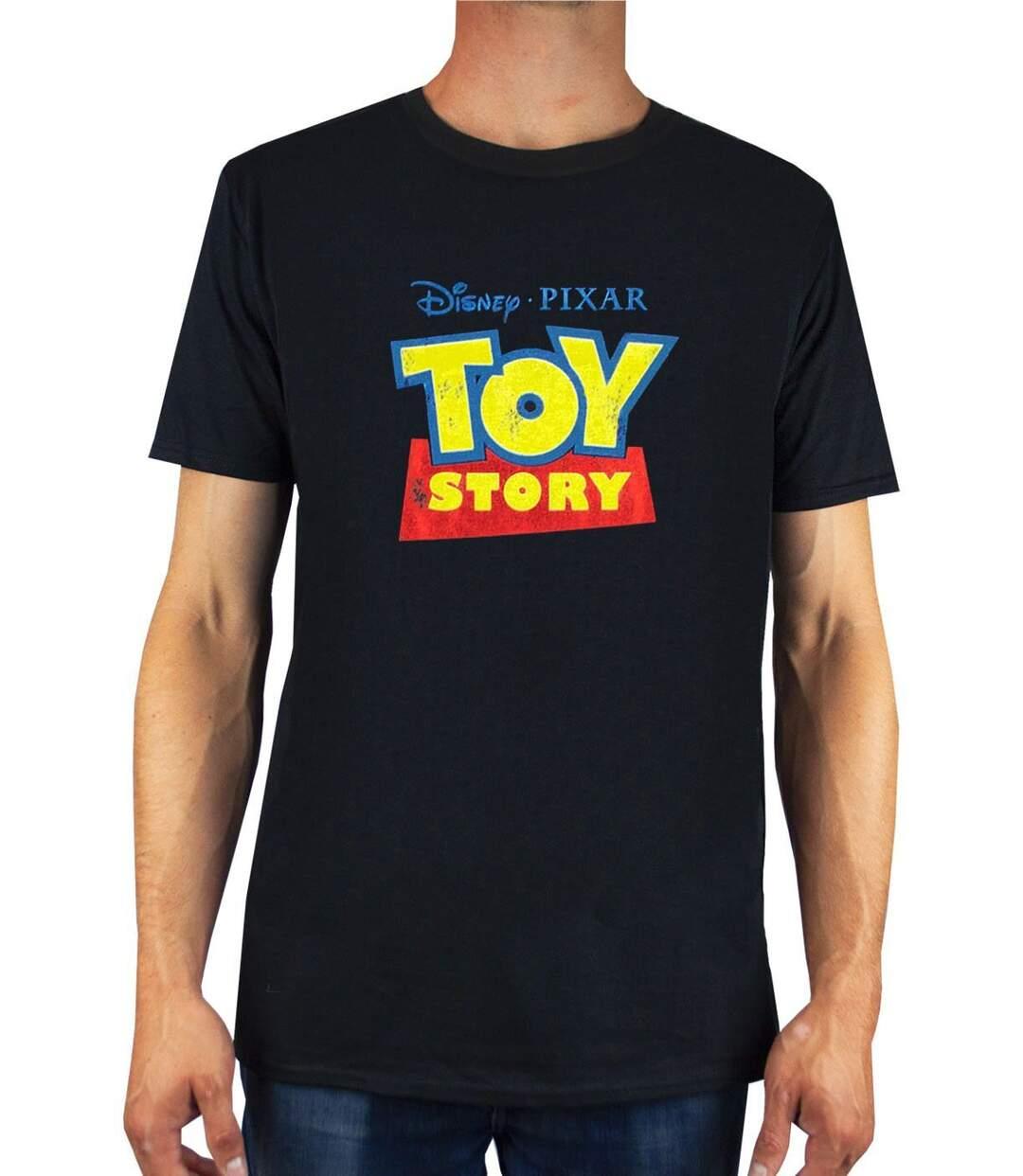 Toy Story Mens Distressed Logo T-Shirt (Black) - UTNS5599