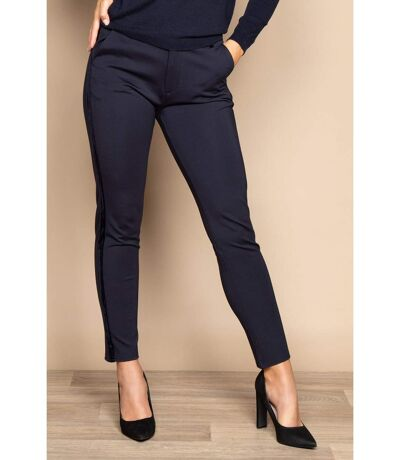 Pantalon droit avec bande de velours HONORA Navy