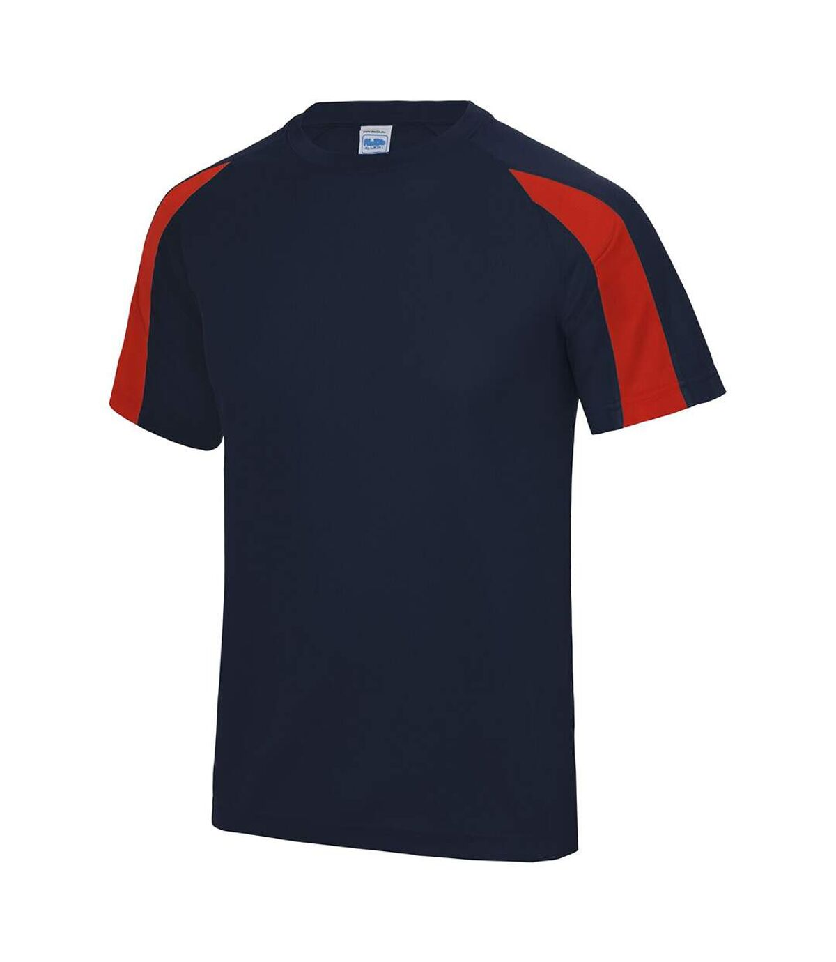 Just Cool Mens Contrast Cool Sports Plain T-Shirt (French Navy/Fire Red) - UTRW685