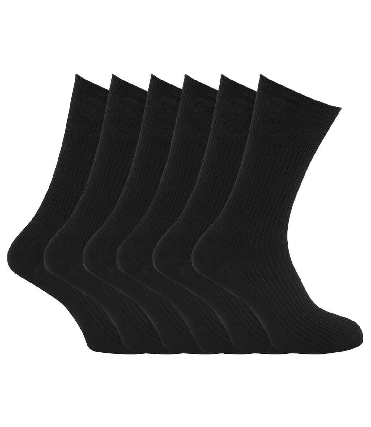 Specialist Item: Mens Ribbed XL Non Elastic Top Socks (Pack Of 6) (Black) - Spec1CottonXL
