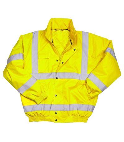 Warrior Mens Tulsa Hi-Vis Bomber Jacket (Fluorescent Yellow) - UTPC3501