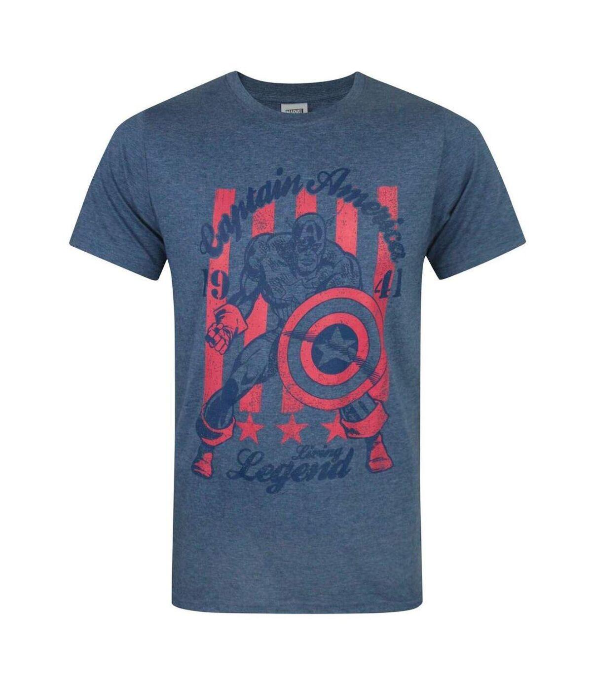 Captain America Official Mens Living Legend T-Shirt (Blue) - UTNS5043