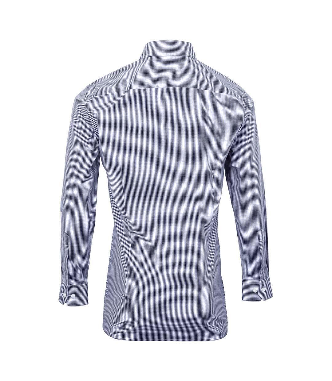 Premier Microcheck - Chemise À Manches Longues - Homme (Bleu marine/Blanc) - UTRW5526