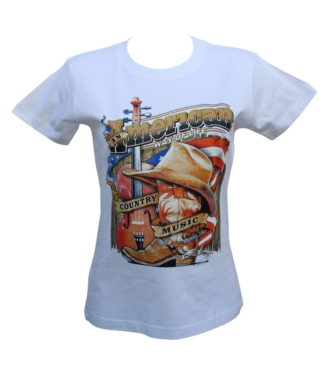 T-shirt femme manches courtes - Country Music - 12036 - blanc