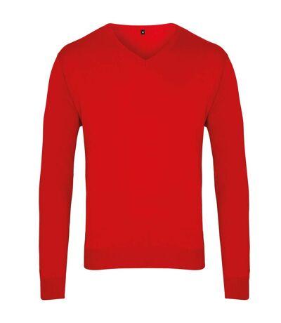 Premier Mens V-Neck Knitted Sweater (Black) - UTRW1131