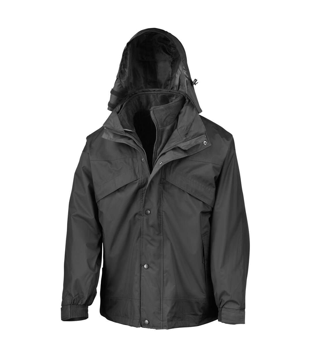 Result Mens 3 In 1 Zip And Clip StormDri Waterproof Windproof Jacket (Black) - UTBC930