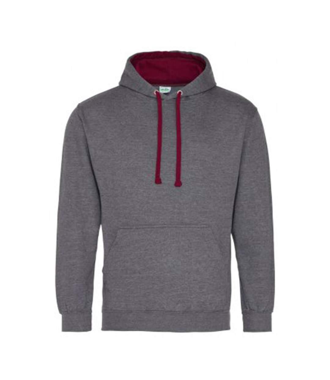 Awdis Varsity Hooded Sweatshirt / Hoodie (Hot Pink / French Navy) - UTRW165