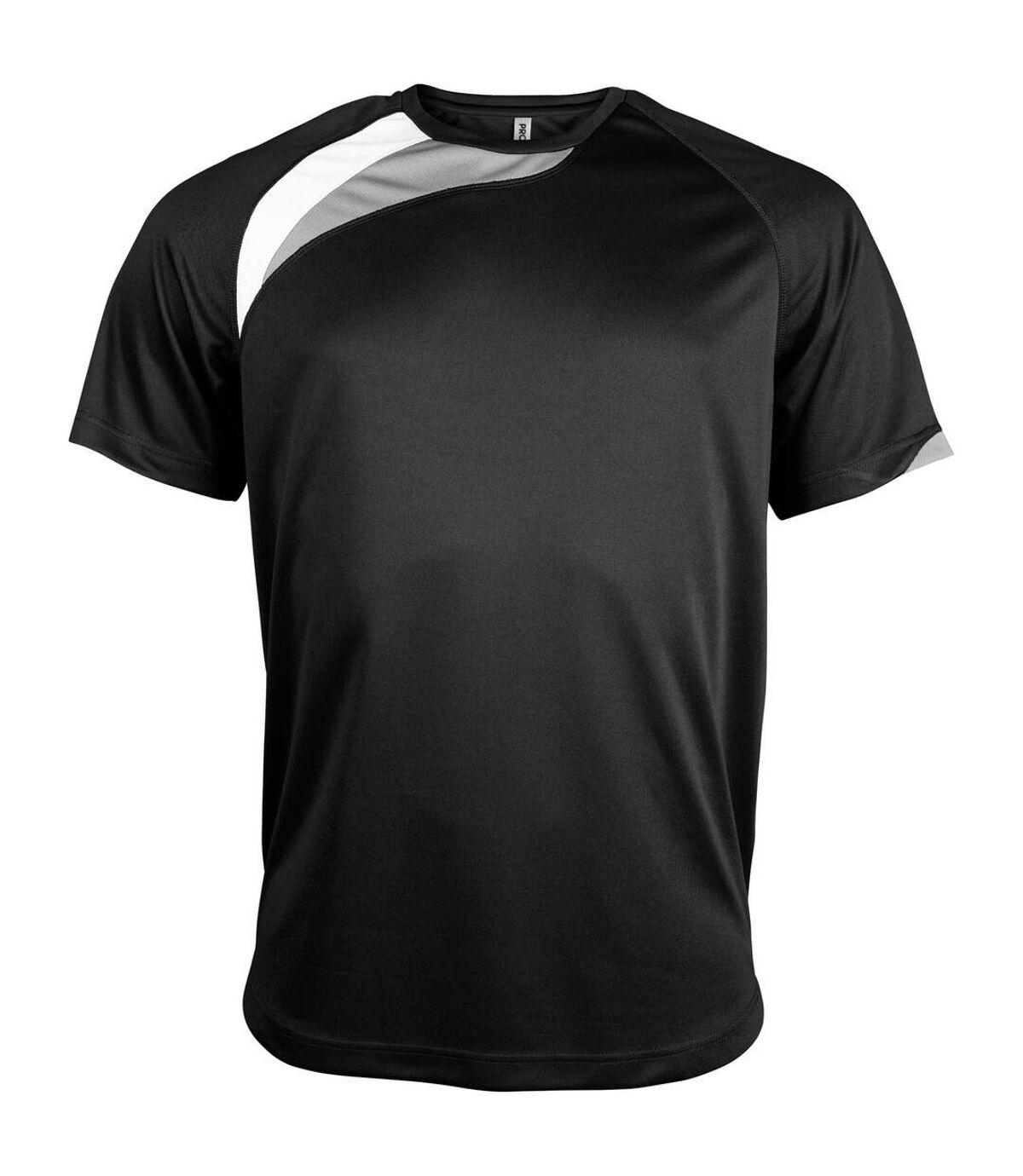 Kariban Proact Mens Short Sleeve Crew Neck Sports T-Shirt (Black/ White/ Storm Grey) - UTRW4243